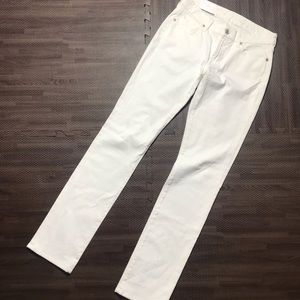 7 for all mankind kimmie straight leg white jeans